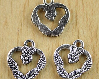 15Pcs floral open heart charms (h0108 or h2128)