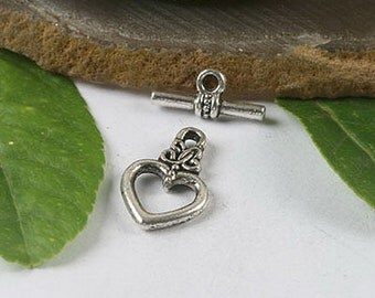 10sets  heart shape toggle clasps (h0449 or h1345)