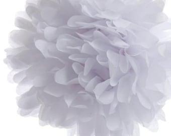 "Set of 3 White Tissue Pom Pom, White Tissue Paper Pom Poms 14"""