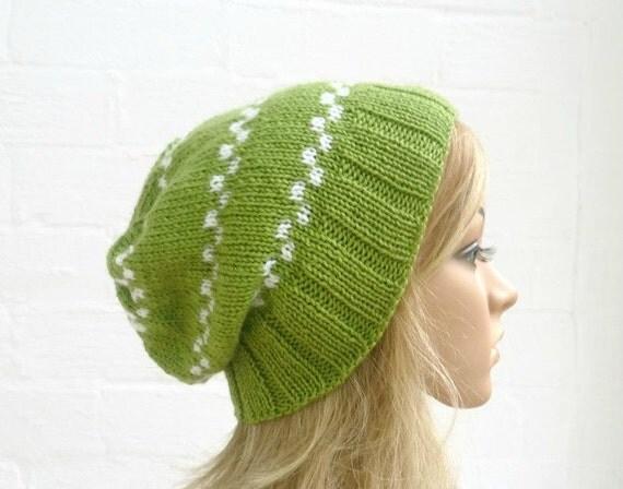 Hand Knitted Slouchy Beanie Hat, Women's Merino Wool Green White Hat, Accessories, Clickclackknits
