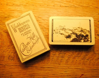 1930 Playing cards By the WADDINGTON card Company depicting CALTON HILL Edinburgh Scotland souviner playing cards deck great tan black sepia