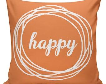 Cushion Pillow HAPPY Nursery Gift Cotton and Burlap You Choose Word or Name WE-52 Elliott Heath Designs