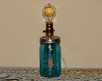 Handmade Mason Jar Lamp - Blue Mason Jar