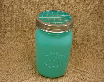 Hand Made Mason jar Frog Lid With Mason Jar - Milky Green Color