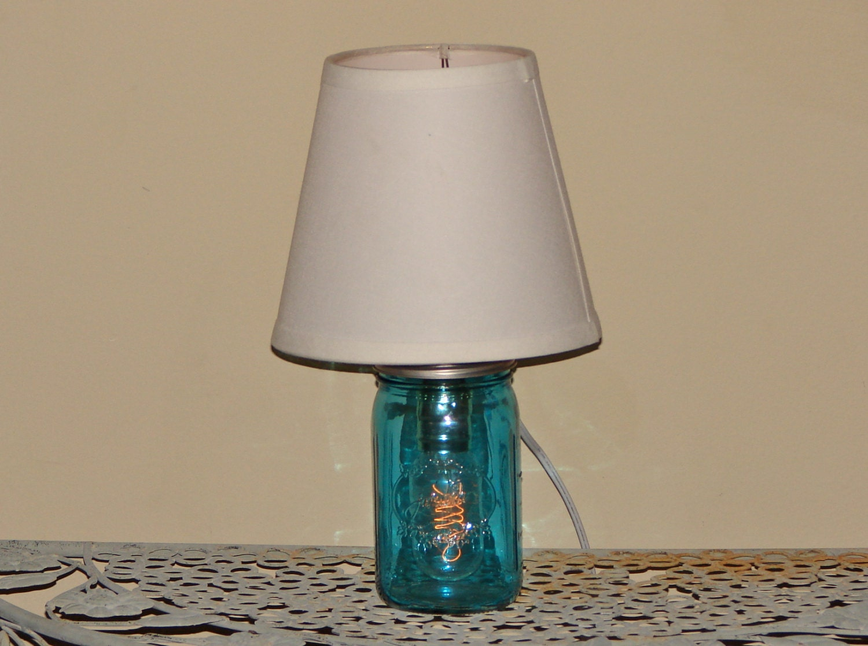 handmade mason jar lamp with shade blue mason jar. Black Bedroom Furniture Sets. Home Design Ideas