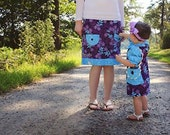 Fall 2013 Matching Mommy and Me Set....Purple Bermuda with Sky Blue Accents - JustSewStinkinCute