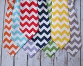 Boys Neck Tie- Chevron Neck Tie- Birthday Neck Tie- Adjustable Velcro Strap- red, green, navy, orange, yellow, gray, aqua chevron