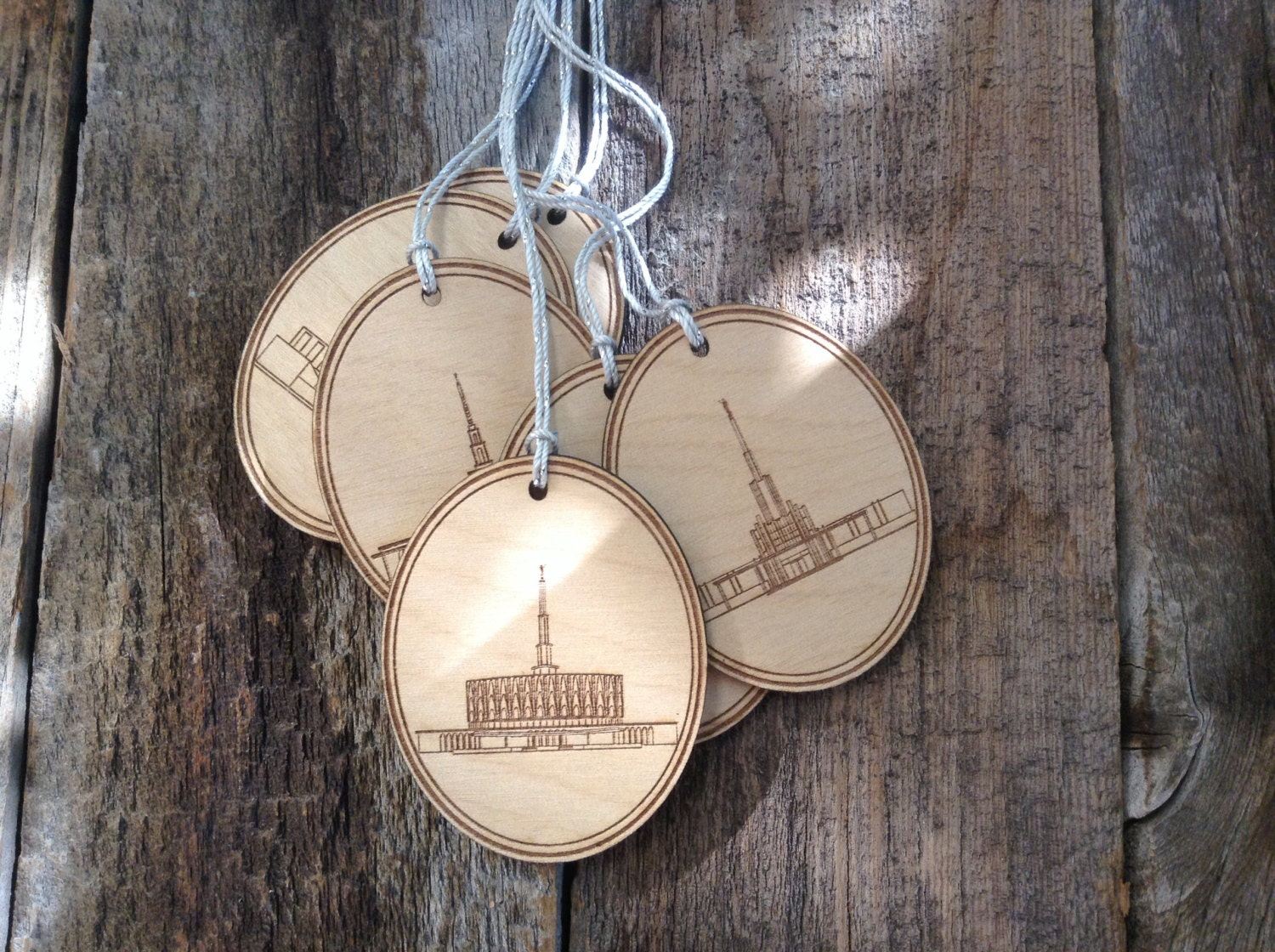 Lds temple ornaments -  Lds Temple Christmas Ornaments Wood Tags Zoom