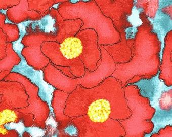 Worn Poppy in Red from the Cosmos Collection by Laura Gunn for Michael Miller - Priced by the Yard