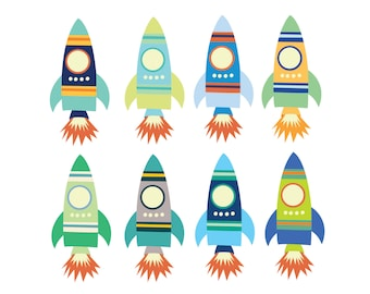 60% OFF SALE  Digital Clipart for Boys Space Rocket Clip Art  Teachers Clipart for Kids Birthday Clipart