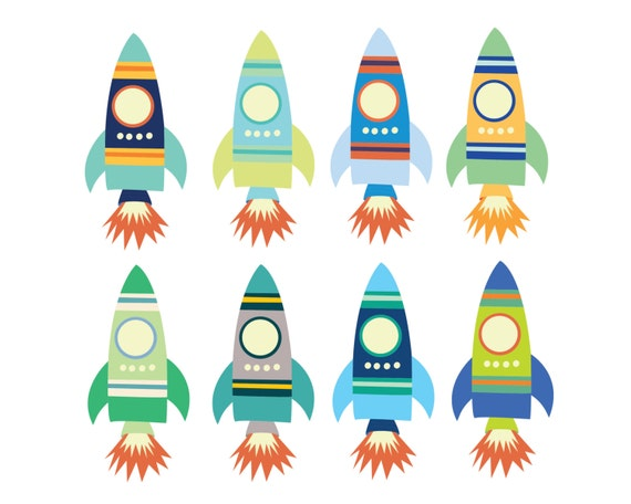 60% OFF SALE Digital Clipart For Boys Space Rocket Clip