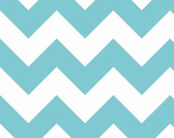 SALE Large Chevron in Aqua - sold by half yard - Riley Blake Fabric