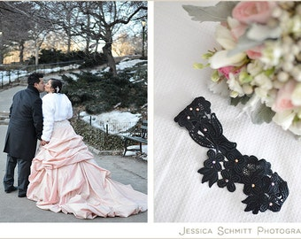 Swarovski Garter Black Set Bridal Accessories Lace