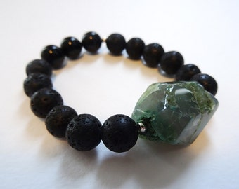 Feature green stone with black shiny and satin beaded bracelet