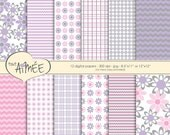 Chevron, Plaid & Flower Digital Scrapbook Paper, Designs for Girls, Pink, Purple, Grey and White Printable Paper - Group 105