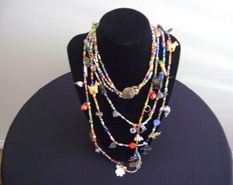 Vintage 1960's or 1970's Seed Beads Hippie Necklace