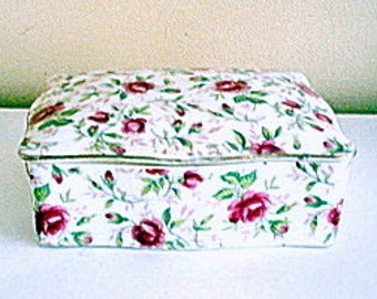 Japan Porcelain Covered Trinket Box Hand Painted Roses Shabby Cottage Chic