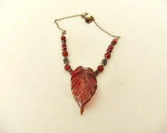 Red Murano Glass Pendant Silver Necklace