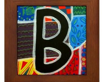 """Folk Art - Letter """"B"""" - FRAMED TILE By Artist A.V.Aposte"""