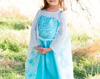 Frozen Queen Elsa Costume - Toddler Washable Dress - Girl Party Fantasy Costume, Handmade Glitter Birthday Dress, HandPainted SnowFlake Cape