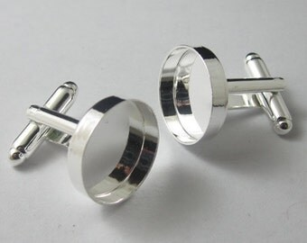 400 pcs Cuff links with the 16mm inner size bezel setting, sterling silver plated