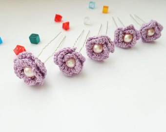 Bridal hair pins, crochet hair accessories, wedding hair pins, crochet bridal hair accessories, flower for hair, set of 5 pcs.