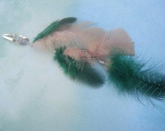 Green and Tan Feathered Hairclip