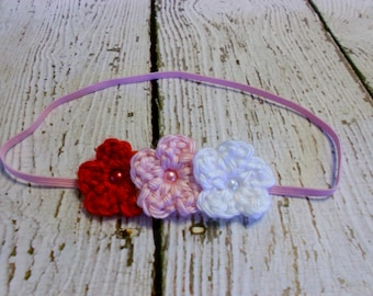 Triple Crochet Valentine's Day Flower Headband-Red, Pink, White- Newborn to Adult
