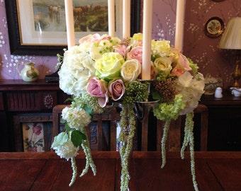 Artificial Wedding Flowers Vintage Chic Pink Cream Roses Candelabra