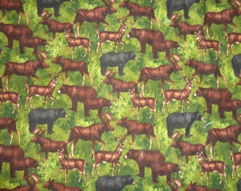 Moose/Bear/Deer Flannel Fabric by the Yard