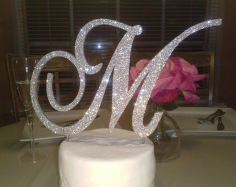 Monogram cake topper 6 inch silver glitter