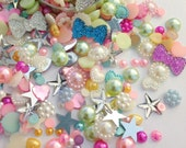 100 pc Assorted mix- Pearls, rhinestones, bling and sparkle-- Phone deco/embellishment kit- Pastels
