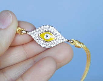 Evil Eye Bracelet, Clear Rhinestone Bangle, Yellow Cord, Modern Bridal Friendship Valentines Bithday Gifts OOAK Gifts by Giftin For Fifteen