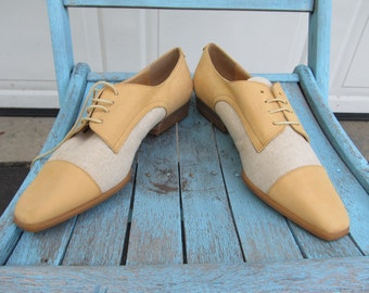 Vintage Oxfords, yellow leather and cream canvas, NOS, sz 6