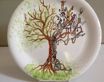 "10"" dinner plate with Steampunk Tree"