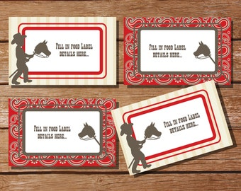 Cowboy Party Tent Cards, Food Labels, Buffet Cards, Food Tags, Labels - Instantly Downloadable File