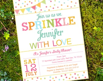 Sprinkle Baby Shower Invitation in Whites and Brights - Instant Download and Edit with Adobe Reader