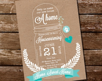 Shabby Chic Housewarming Invitation - Housewarming Party - Mason Jar Invitation - Instantly Downloadable and Editable File - Print at Home!