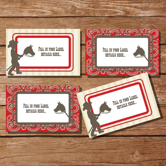 Cowboy Party Tent Cards Food Labels Buffet Cards Food Tags