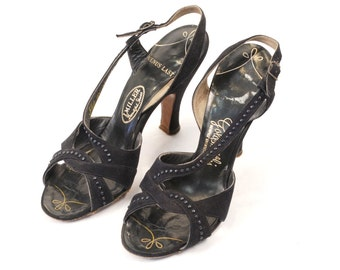 1930s Heels // 30s Shoes // Black High Heels // Strappy Sandals // Art Deco // Art Nouveau // Black Shoes // SIZE 5 to 5.5