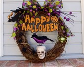 Halloween Wreath Happy Halloween Raven/Crow Skull Spiders and Glitter  Handmade by FeistyFarmersWife