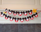 Mickey Mouse Birthday Banner with Age and Custom Name READY TO SHIP by FeistyFarmersWife