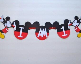 "1st Birthday High Chair Banner ""I AM 1""  or ""I AM 2"" 2nd Birthday Mickey Mouse Ears by FeistyFarmersWife"