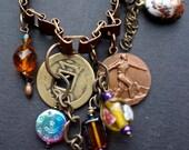 Vintage and bohemian book chain charm bracelet