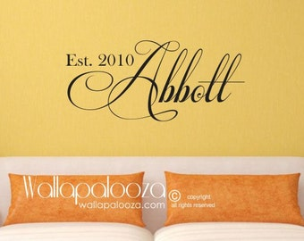 Family Name Monogram - Family Room Wall Decal - Family name wall decal