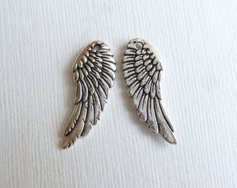 Antiqued Silver Wing Charms --  Pendants -- 2 pieces Pewter Tierracast Findings