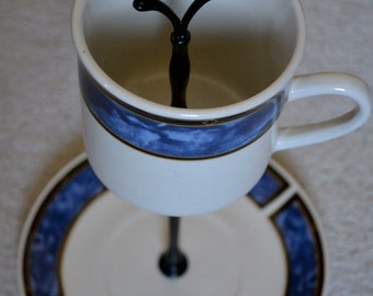 Jewelry Stand Teacup Jewelry Display Tea Cup and Saucer Tidbit Catchall Tray Blue White Plates Stoneware Stand