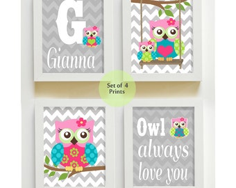 Owl Nursery Decor Owl Print Wall Art ,Set of four 8 x 10 Girls Room Decor , Hot Pink Turquoise Gray Owl Nursery, Owl will Always Love you
