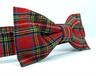 Red Plaid Dog Bow Tie, Christmas Bow Tie, Bow Tie for Dogs, Dog Bow Ties