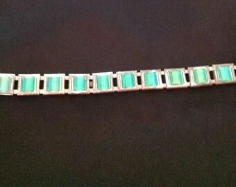 Vintage Green Glass Link Bracelet